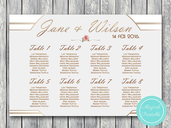 Printable Custom Wedding Seating Chart Wedding by BrideandBows - free printable seating chart