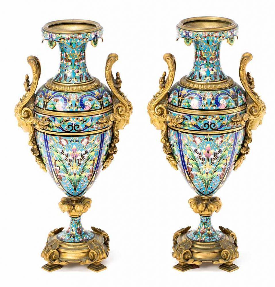 Pair of french napoleon iii gilt bronze and cloisonn enamelled pair of french napoleon iii gilt bronze and cloisonn enamelled vases second reviewsmspy
