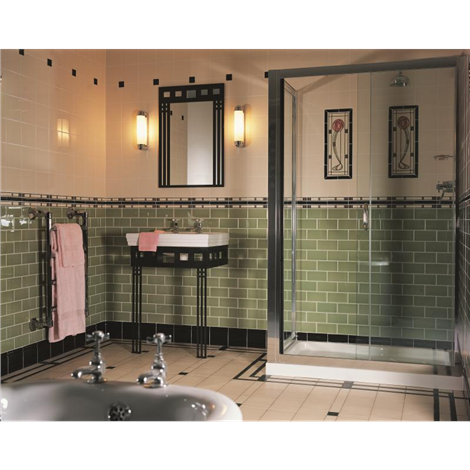 This Art Deco Style Bathroom Uses Striking Green Metro Style Palm Green Half Tiles With The Stylised Art Deco Bathroom Tile Art Deco Bathroom Bathroom Design