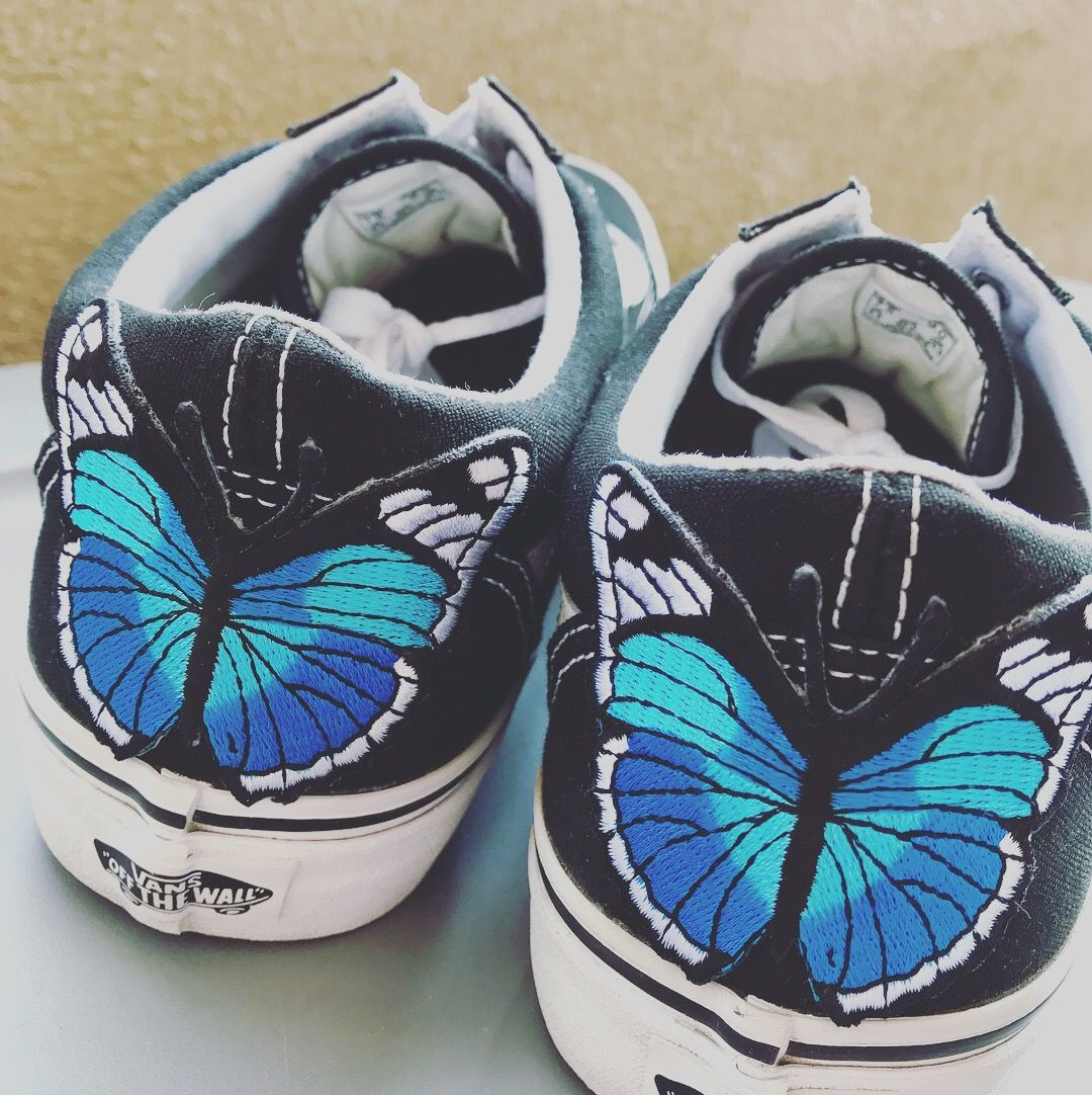 discount sale discount coupon latest trends Vans oldskool with blue butterfly patch | Vans <3 in 2019 ...