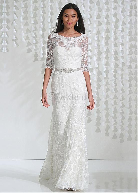 Natürliche Taille Illusion Ärmel Vintage Bateau Brautkleid mit Einer ...