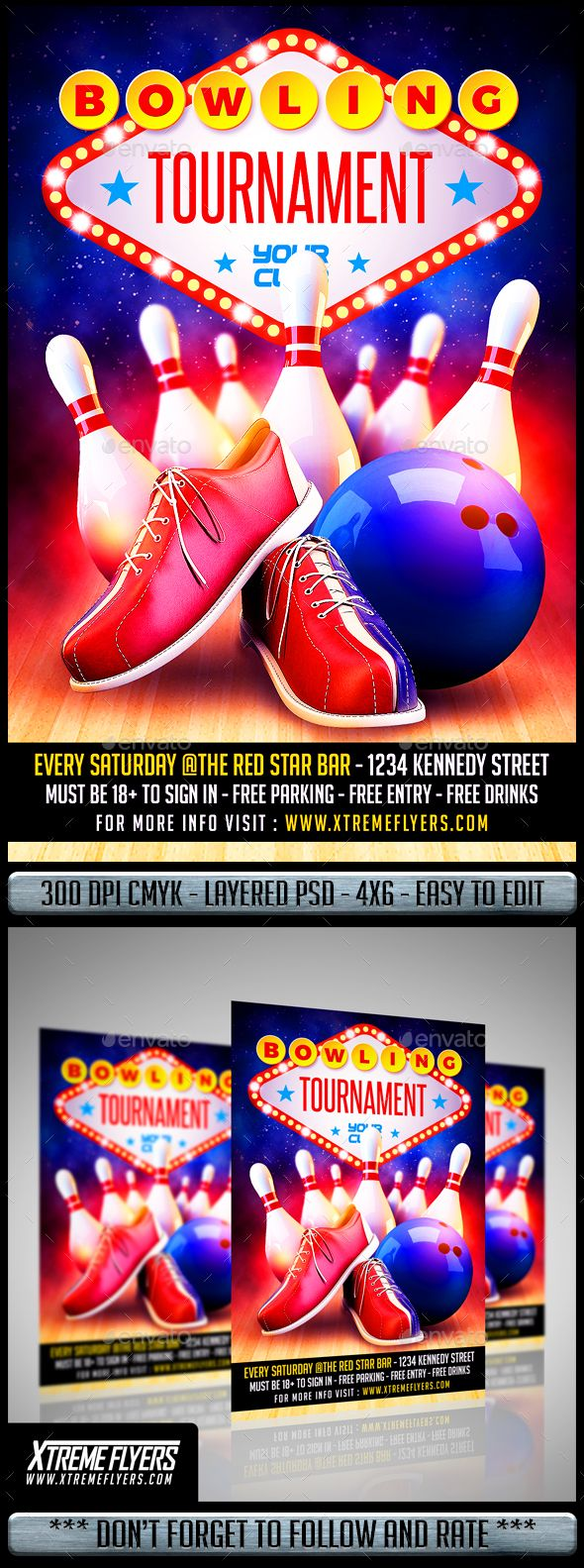 Bowling Flyer  Flyer Template Event Flyers And Template