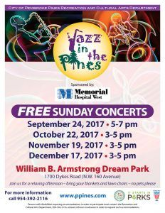 Jazz in the Pines Concert Series! #LivePembrokePines -  The City of Pembroke Pines FREE Jazz in the Pines Concert Series features 9 Jazz Concerts on Sunday afternoons once a month throughout the year at the William B. Armstrong Park, 1700 Dykes Road. Don't forget to bring your blankets and chairs!    - https://apartmentsinpembrokepines.com/jazz-pines-concert-series-livepembrokepines/