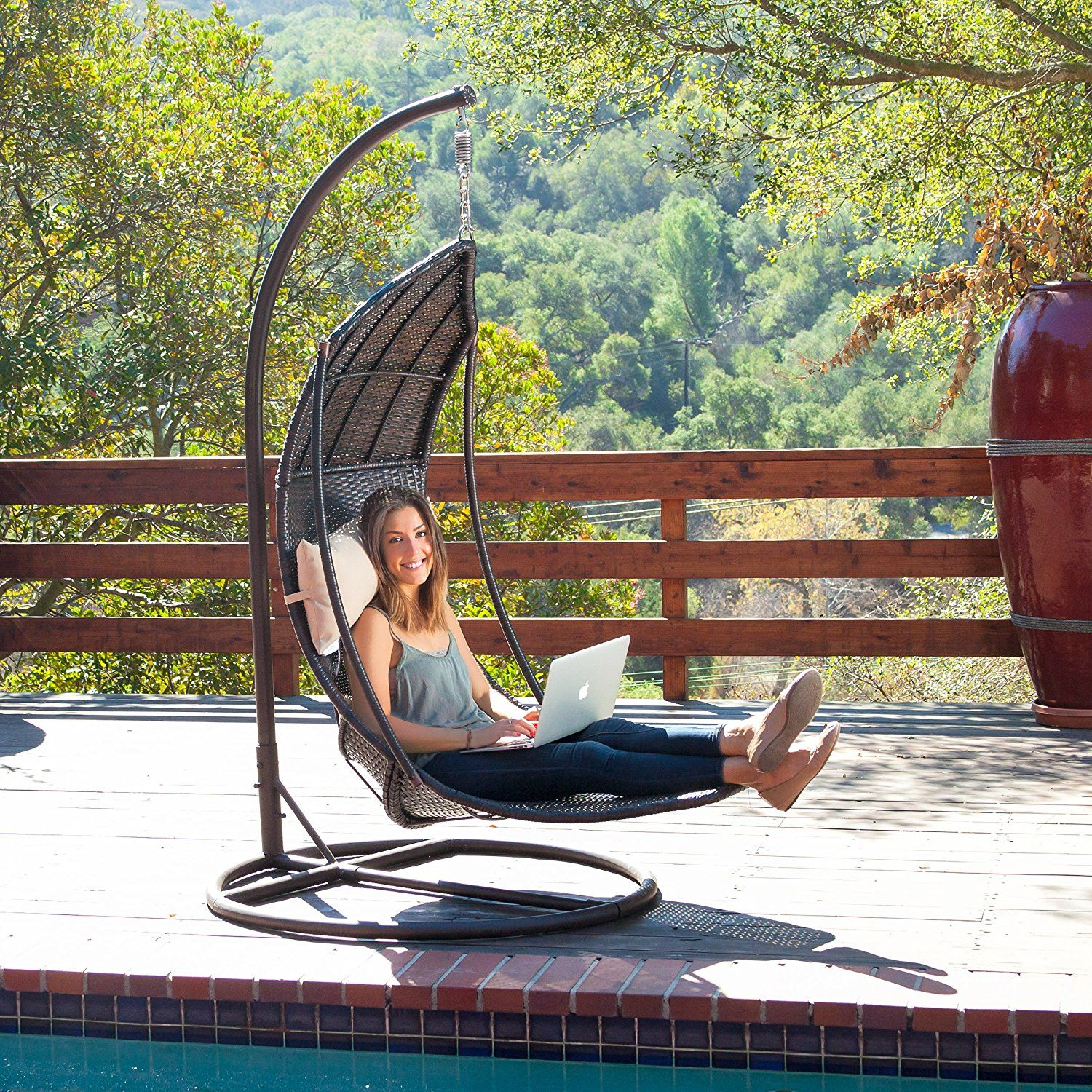 amazon com outdoor brown wicker hanging swing chair with