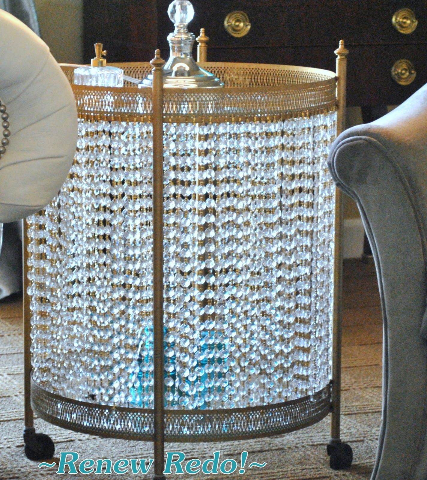 Serving Cart turned dazzling side table w/ the addition of chains of chandelier prisms using little bow-tie clips -- ReNew ReDo!
