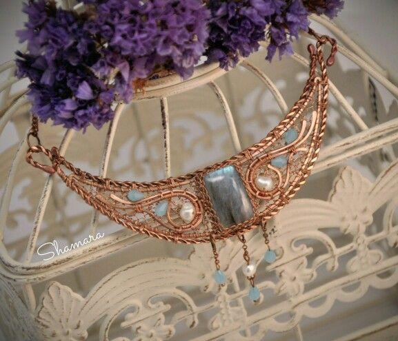 #Shamara_handmade #handmade #wirewrap #werework #wirewrappedjewelry #jewelry #copper #copperwire #wire #украшения #ручнаяработа #кольца #проволока #медь #gemstones #art #творчество #crafts #giftidea #giftforwoman #earings #pearls #labradorite #necklace
