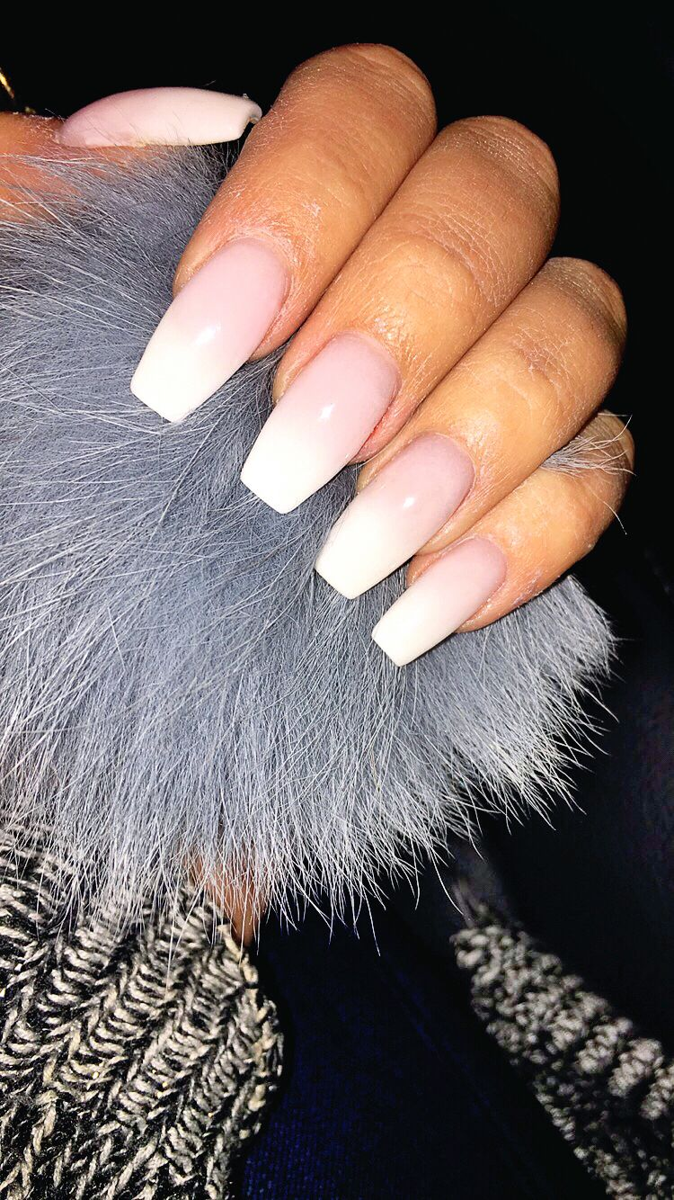 Ombre French Tip Nails Coffin