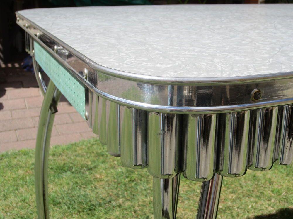 Mid Century Laminate Kitchen Table W Chrome 50S  60S Formica Custom Laminate Kitchen Table 2018