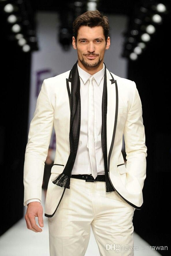 Custom Made To Measure Ivory White Groom Tuxedo With Black Edge ...