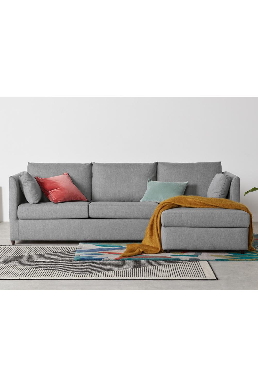 Custom Made Milner Ecksofa Mit Schlaffunktion Bettkasten Und Memoryschaummatratze Recamiere Rechts Samt In Safrangelb Sofa Bed Sofa Grey Corner Sofa