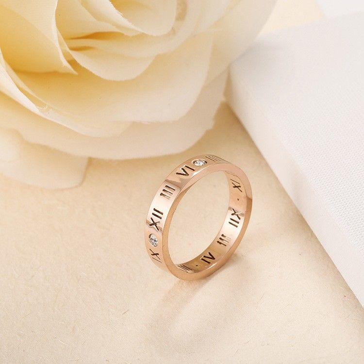 Rose Gold Roman Numerals Titanium Steel Rings in 2020