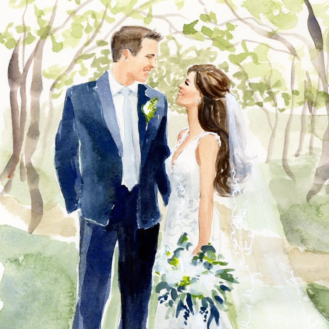 Добрым, свадебные акварельные картинки