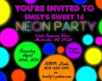 neon party invitation glow party invitation glow in the dark birthday party invite blacklight teen party glow party invite printable - Black Light Party Invitations
