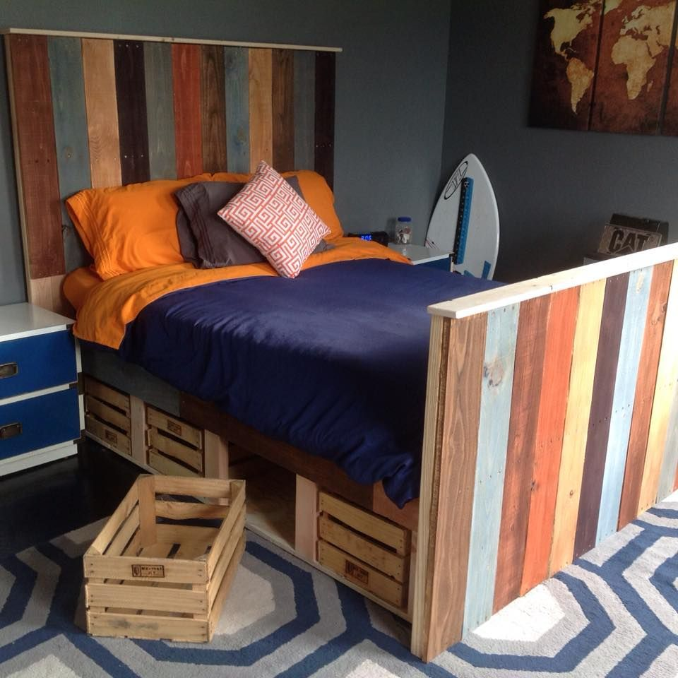 Queen Size Pallet Bed with storage instructions will be