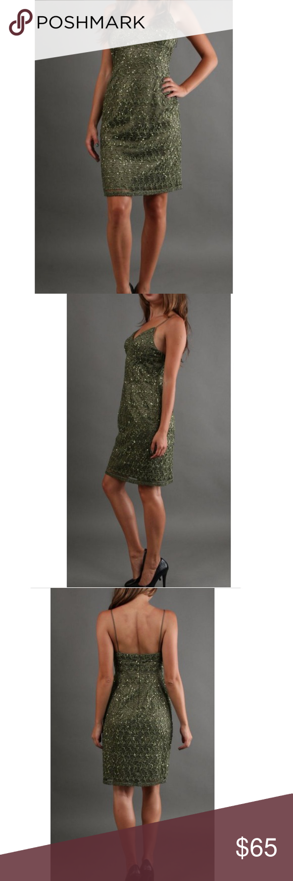 f37cb60f Adrianna Papell - Olive green sequin dress Brand new form fitting olive  green crochet lace sequin