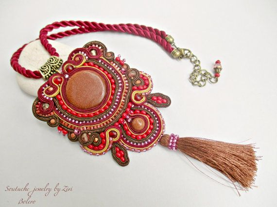 b876acb3578d Colgante Soutache Rojo Granate, Collar Soutache Granate y Marrón ...