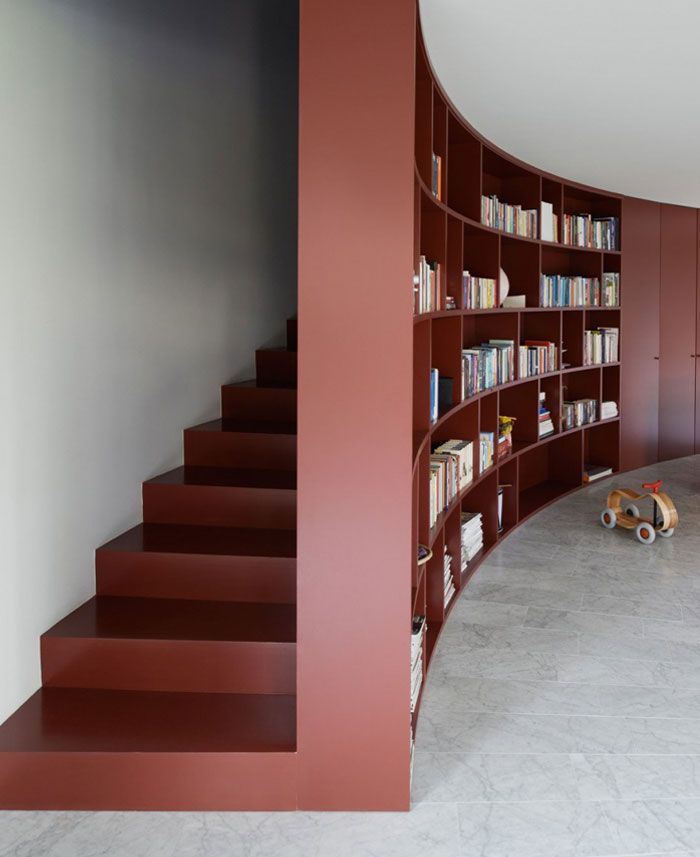 Curved L Shape House Interior Bookcase Stairs6