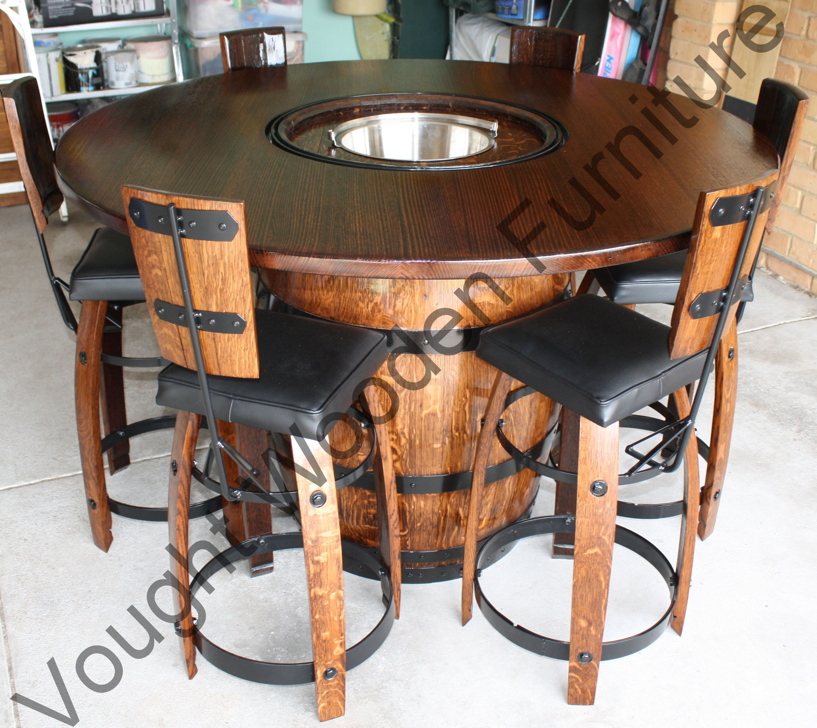 Wine Barrel Bistro Table. Wine Barrel Bistro Table With A Ice Bucket In It U0026
