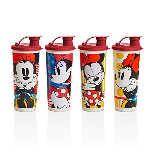 Tupperware 16 Ounce Tumbler with Flip Top Seal Walt Disney Minnie Mouse Design