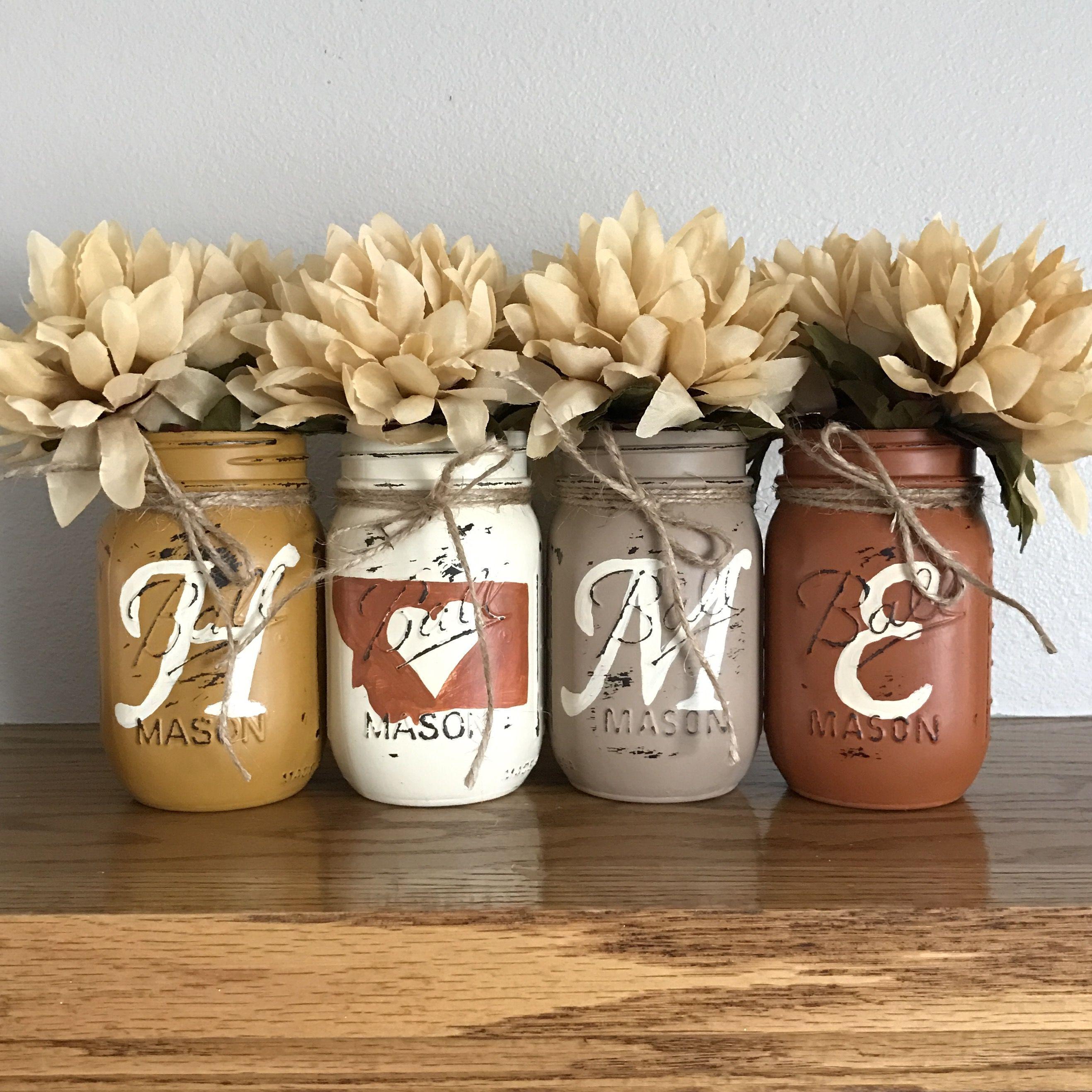 Mason Jar Home Decor Yellow Orange And Brown Montana Home Mason Jar Set  Rustic Home