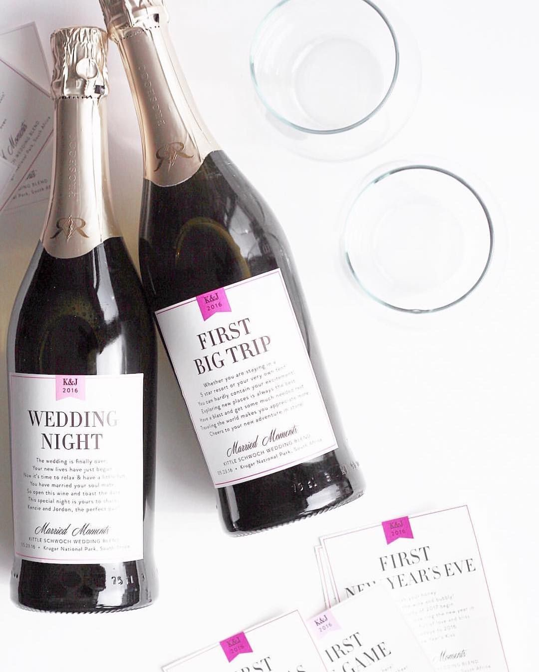 Bridal Shower Gift Idea: Married Milestone Wine and Champagne Labels ...
