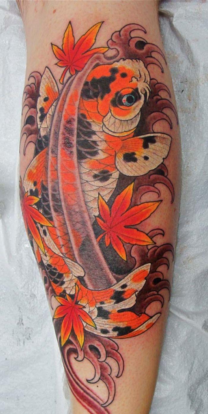 tattoo-design-koi-fisch-orange-rot-laubblätter-bein-arm | Tattoos ...