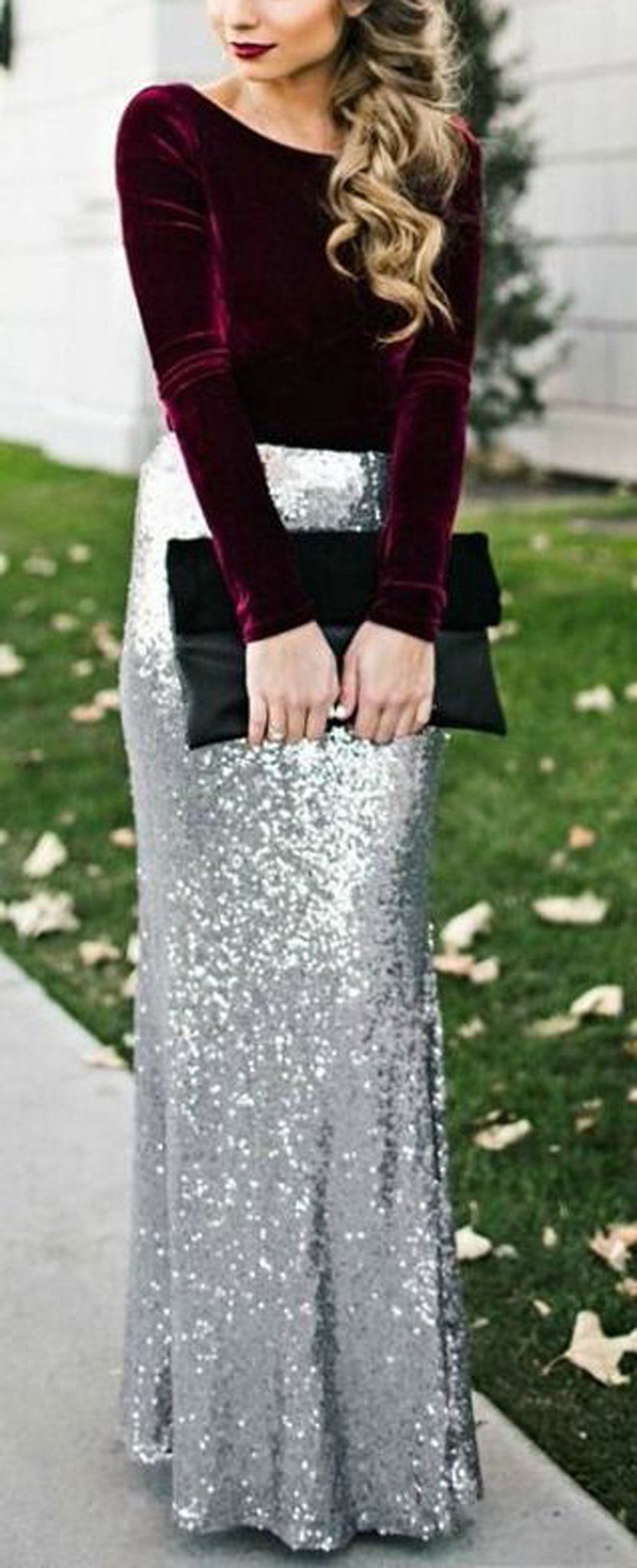 outfit ideas for every holiday party sequin maxi christmas