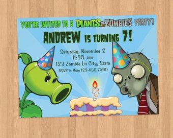 Plants Vs Zombies Birthday Invitation By Vibrantcolordesign