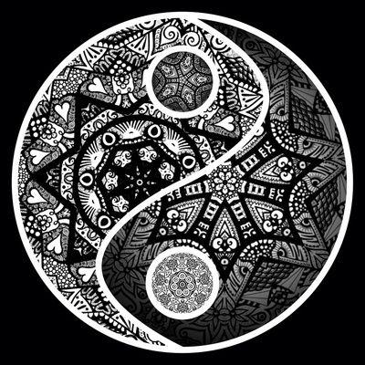 Yin Yang Zentangle Art Print Art Yin Yang Tattoos Yin Yang Art