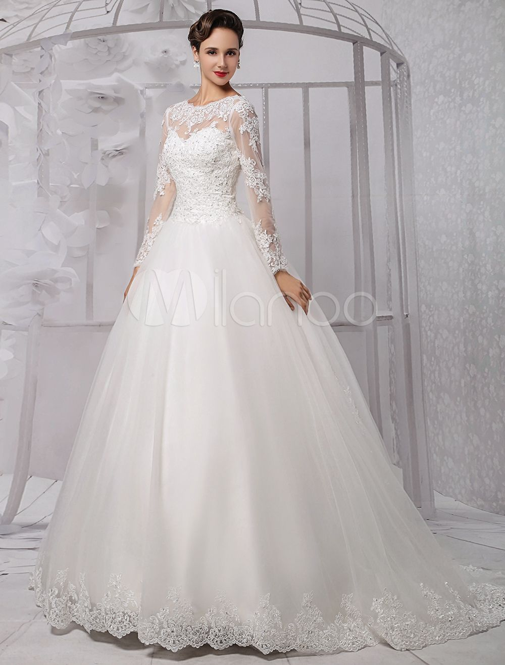 Wedding dresses ball gown long sleeves bridal dress lace beading v