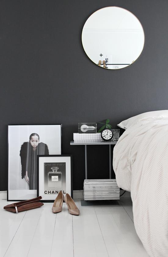 Bedroom // charcoal wall // bedside table // magazine rack // chanel