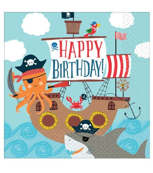 Servietten Ahoy Birthday - 16 Stück #happyhalloweenschriftzug
