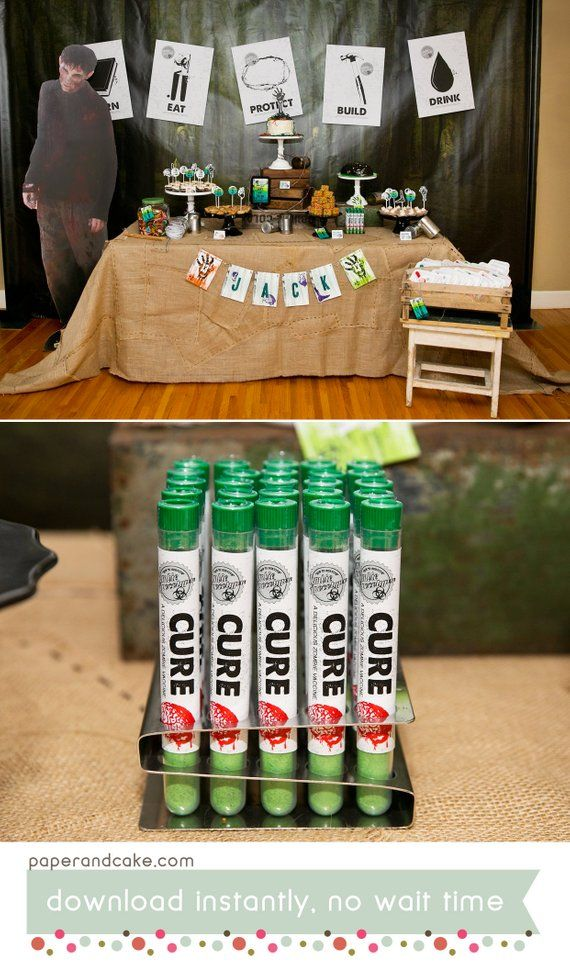 Zombie Apocalypse PRINTABLE Party Decorations | Undead Walkers Birthday - EDITABLE TEXT >> Instant Download | Paper and Cake