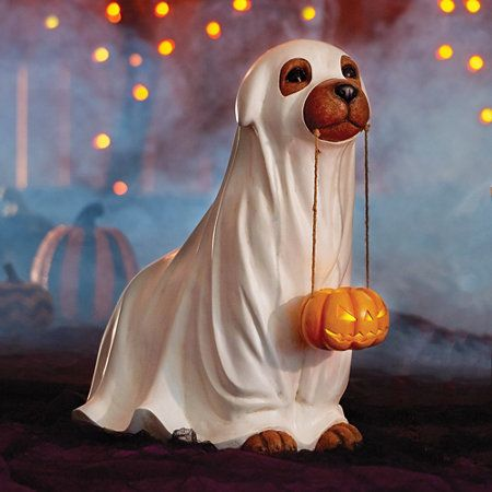 Trick or Treat Dog Statue Halloween Decoration in 2018 what fun