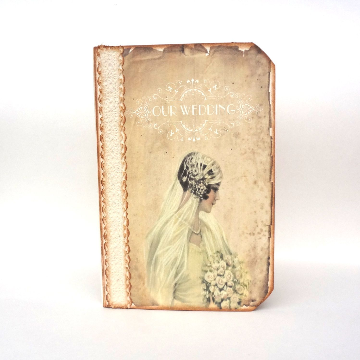 Wedding Guest Book Memory Personalizized Journal Or Planner Victorian Bride Bird Nest
