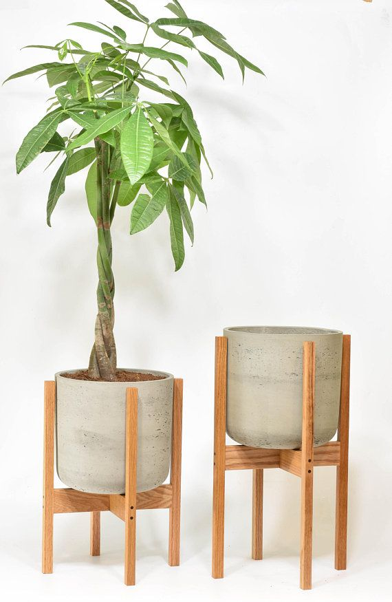 Wonderful Large - Mid Century Modern Planter, Plant Stand with Cement Pot  ZF99