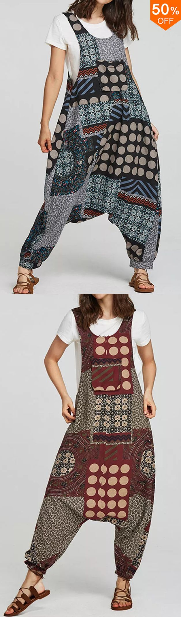 Women Ethnic Cotton Print Overall Side Pockets Harem Romper Jumpsuit #jumpsuitromper