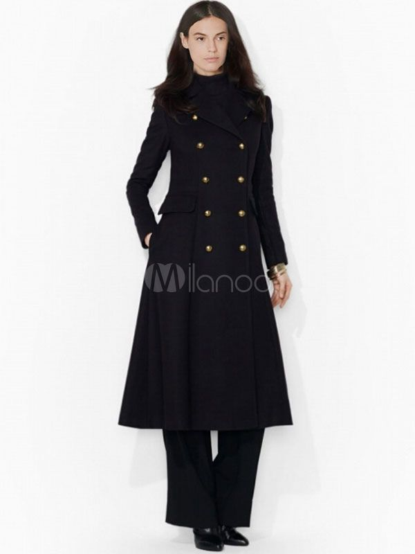 c1feb8699 Black Women's Peacoat Long Sleeve Turndown Collar Double-breasted ...