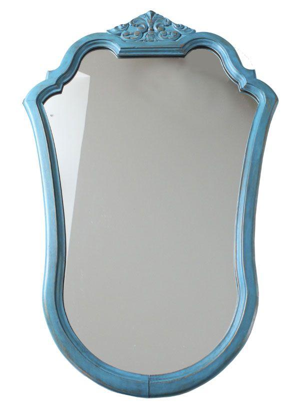 Antiguo espejo castaño decapado azul · Ref. 8256 · Antique chestnut ...