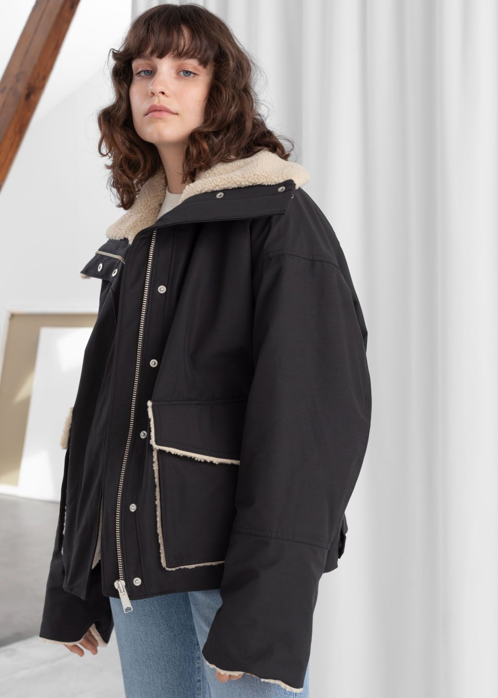 Oversized Faux Shearling Lined Jacket Line jackets