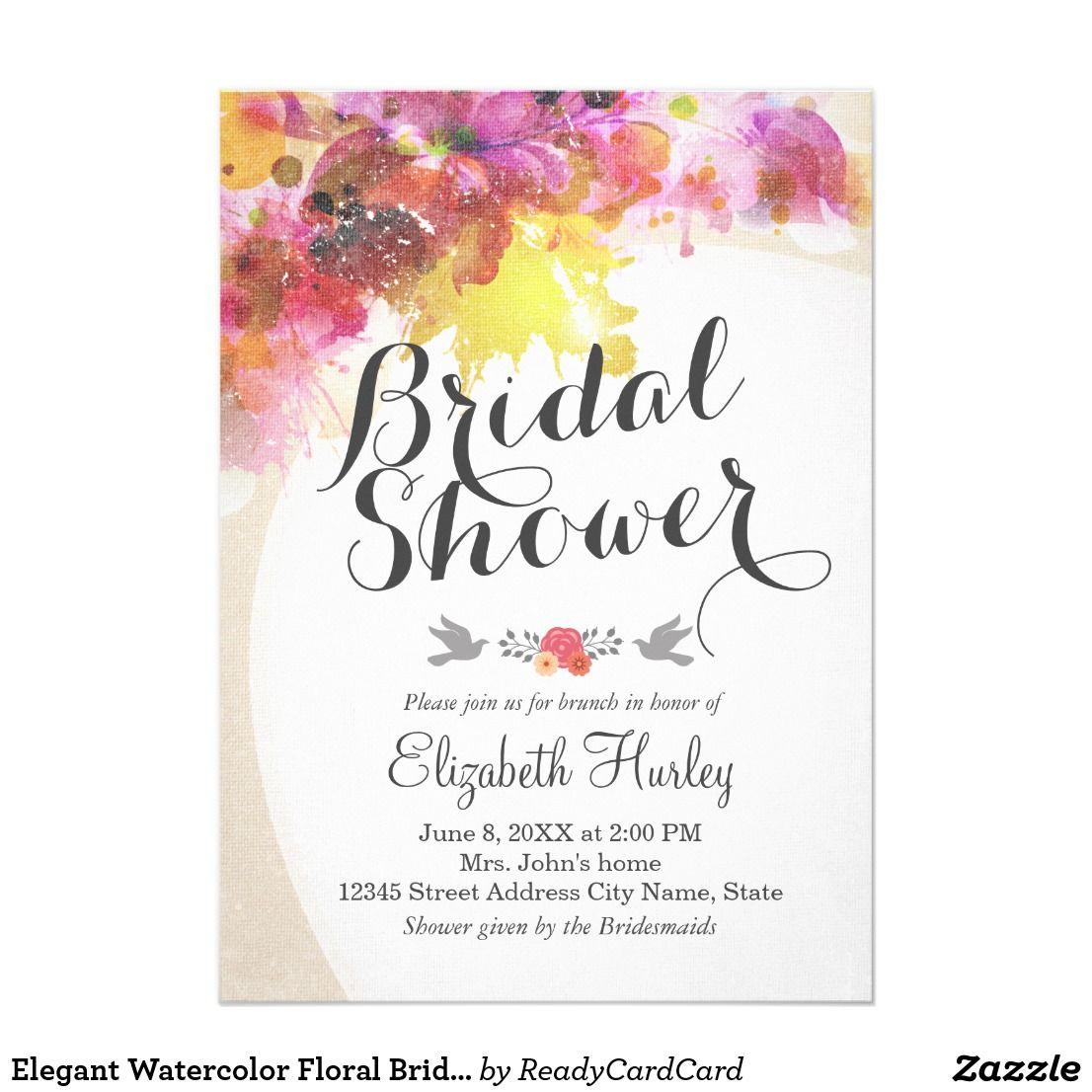 Elegant Watercolor Floral Bridal Shower Invitation Elegant Vintage ...