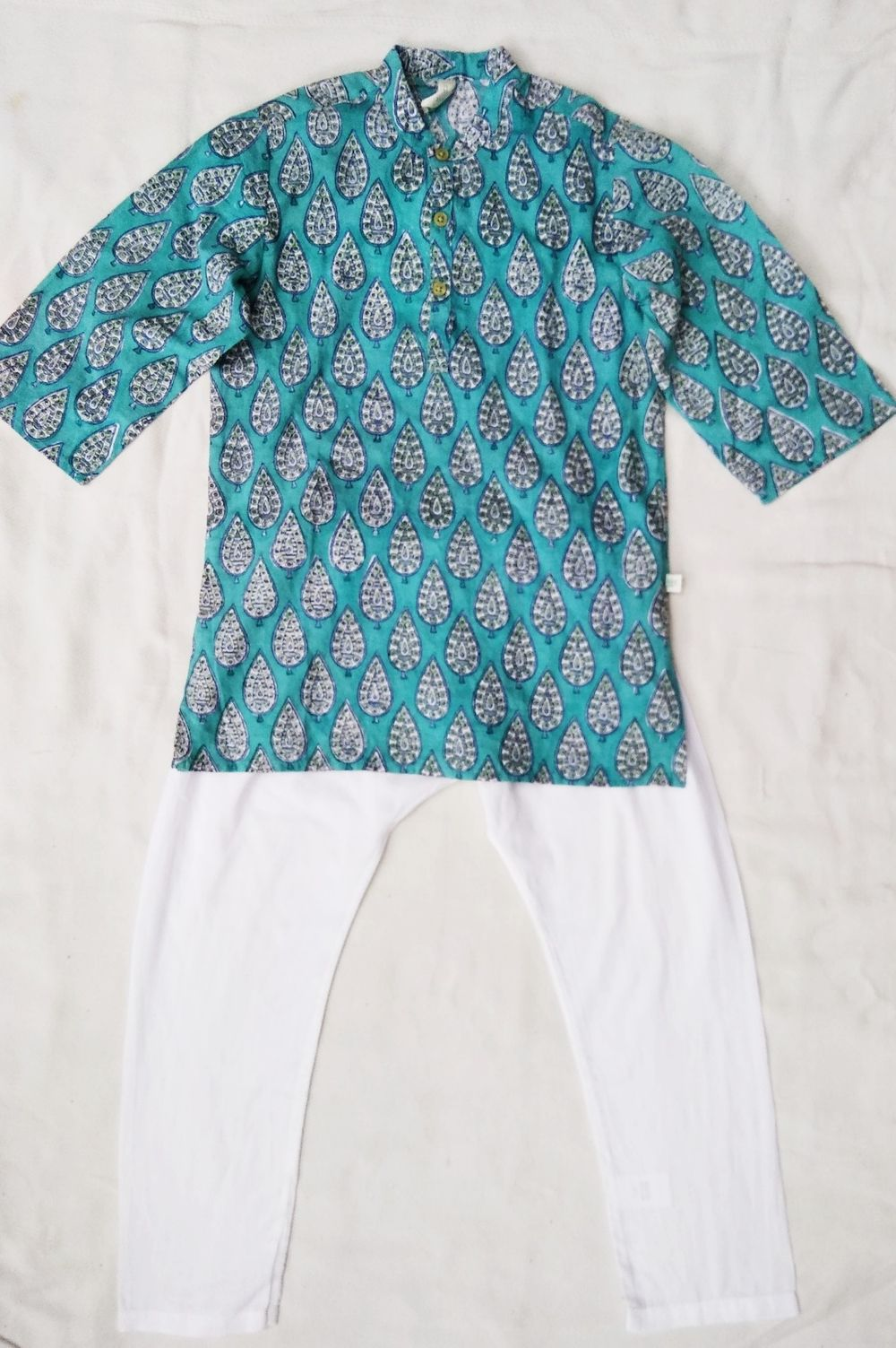 4e2730ee441 Khadiwallah - Anokhi Koki Teal Green Leaf Hand block print Indian cotton  Boys Tunic style Shirt Top & Pant Set