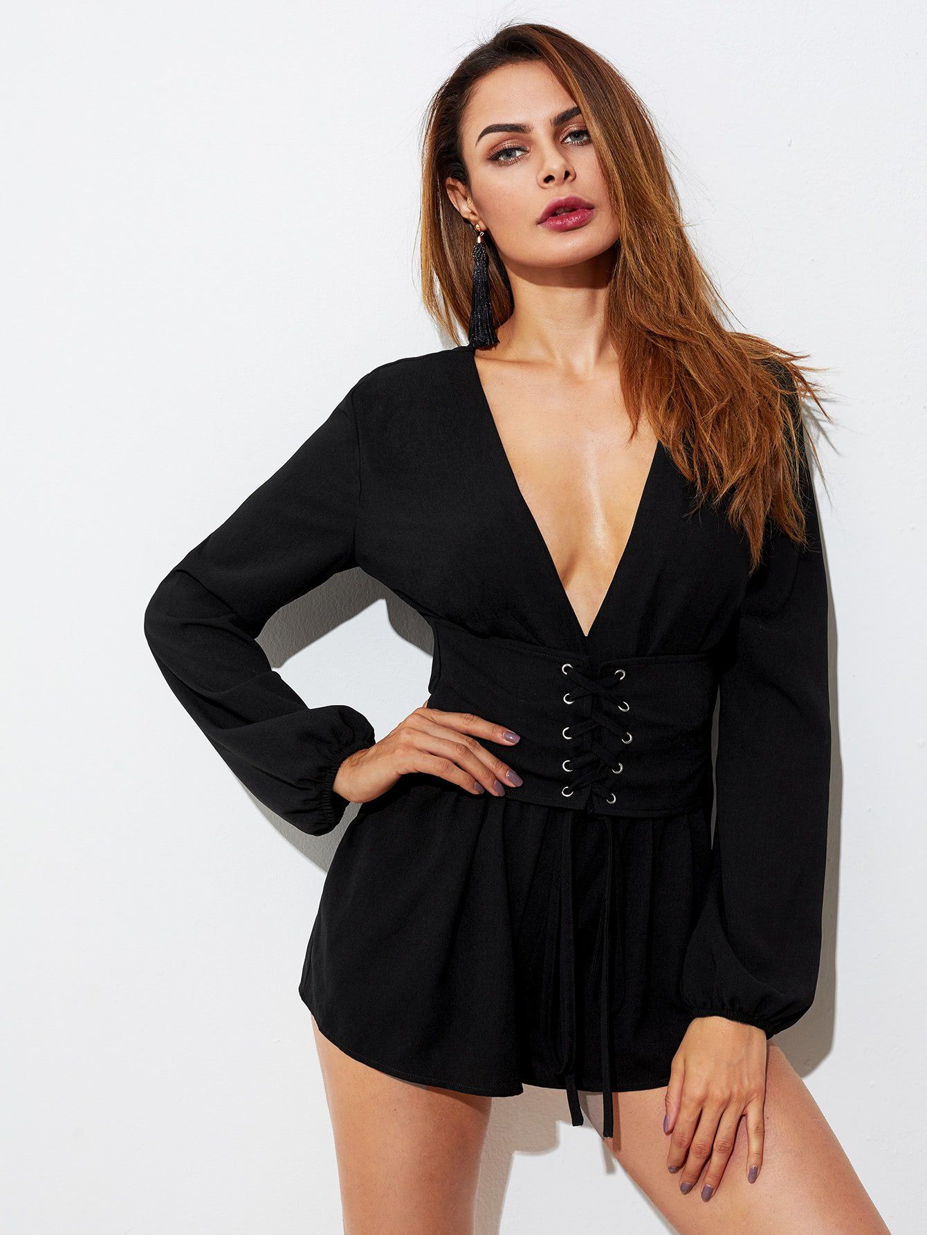 0020070ff3 Plain Black V-Neck Lantern Long Sleeve Corset Belt Detail Plunging Romper