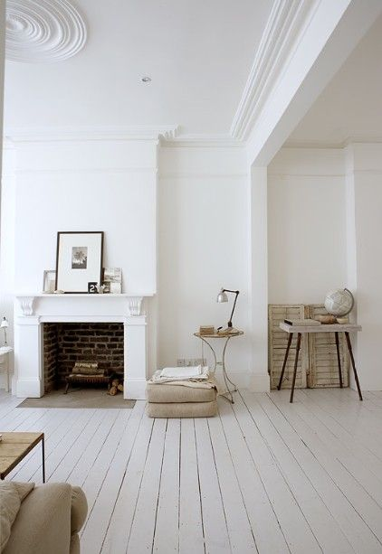 White Floor White Walls Shabby Chich Minimalist Distressed Light Airy Ornate Room Fireplace White Wooden Floor Home House Design