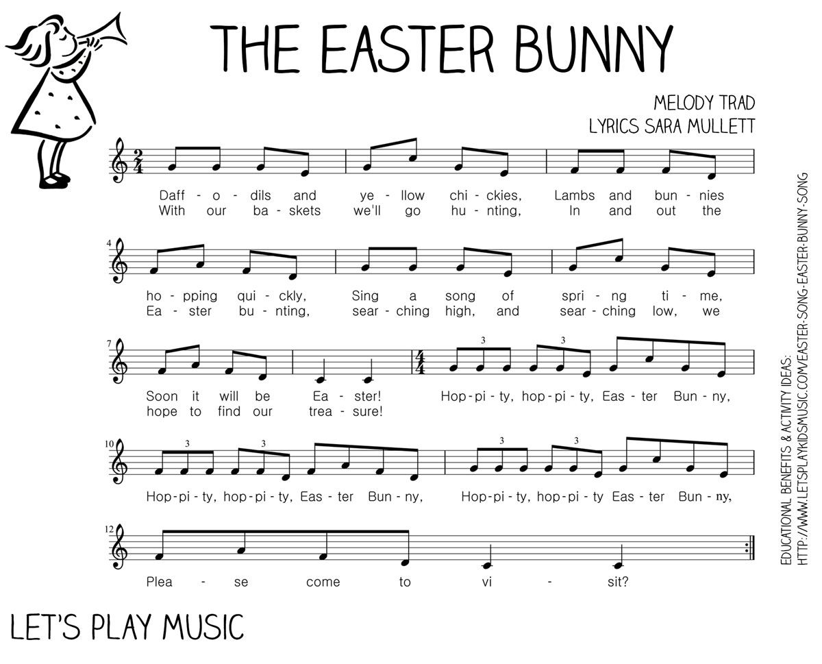 the easter bunny song free sheet music easter bunny and sheet music
