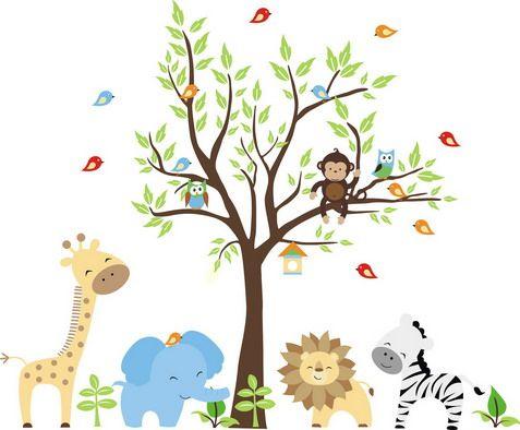 Jungle Animals Cartoon in the Rainforest Wallpaper Decals for Kids ...