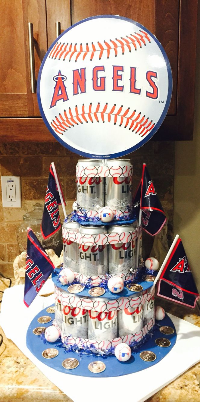 Angels Baseball Beer Cake With Images Beer Cake Gifts For