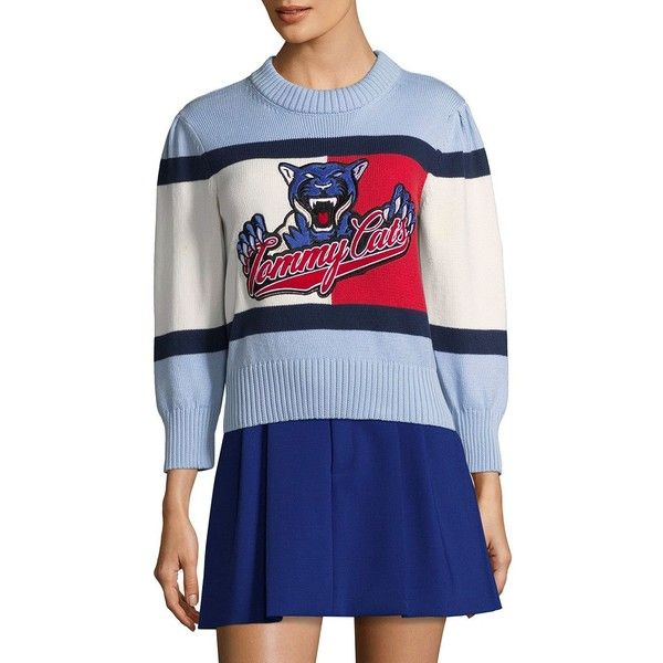 Tommy Hilfiger Collection Puff Sleeve Cropped Cotton Sweater ($230 ...