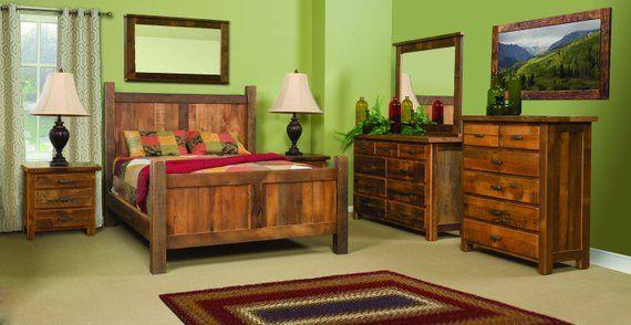 6 piece farmhouse reclaimed barn wood bedroom suite