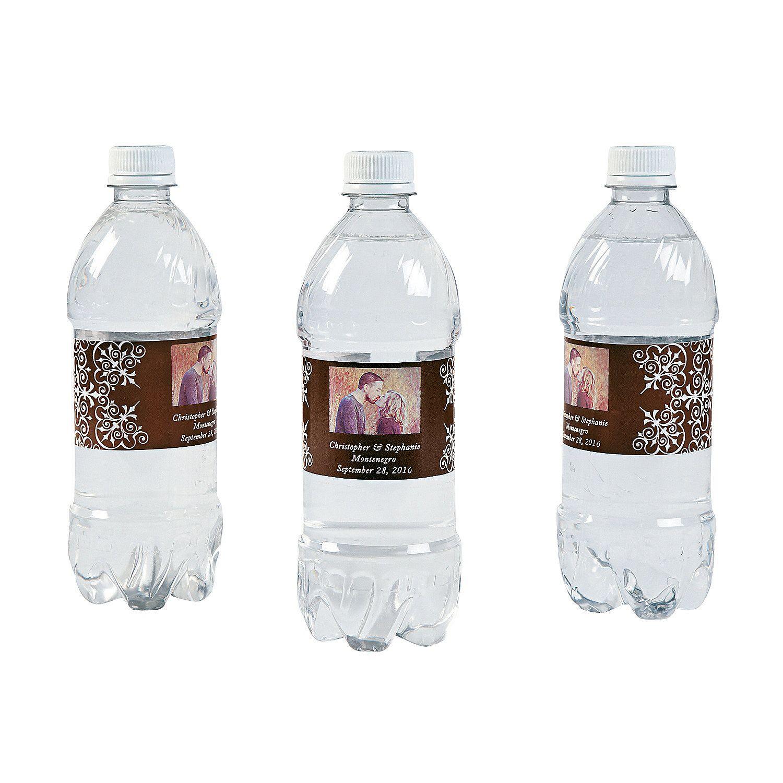 Custom Photo Wedding Water Bottle Labels Chocolate Brown